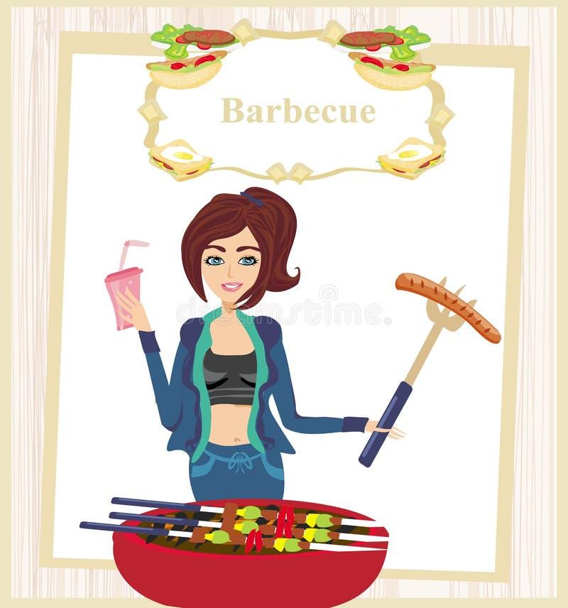 Dziewczyny barbecuing mięso ilustracja wektor