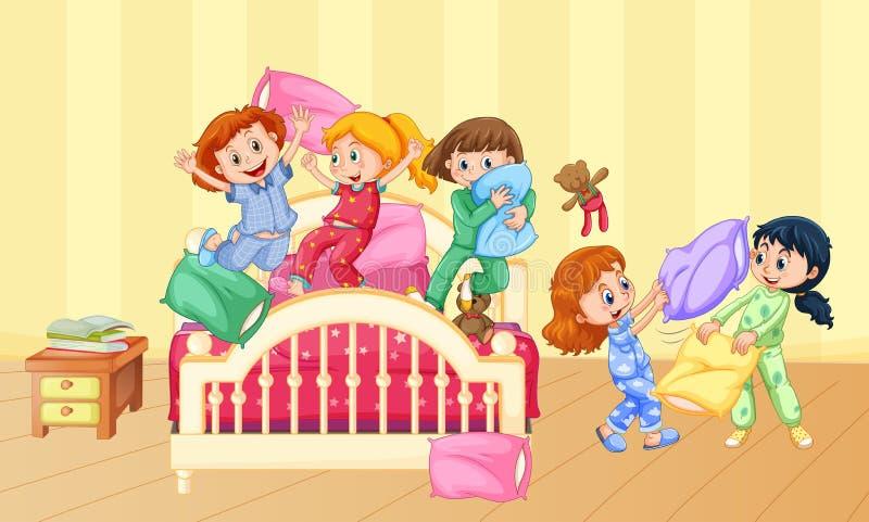 Dziewczyny bawić się poduszki walkę przy sen przyjęciem ilustracja wektor