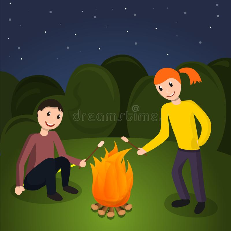 Dziewczyny chłopiec kucharza marshmallow pojęcia tło, kreskówka styl royalty ilustracja