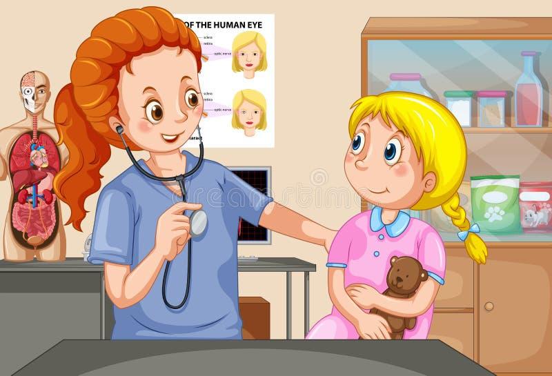 Dziewczyny Checkup z lekarką royalty ilustracja