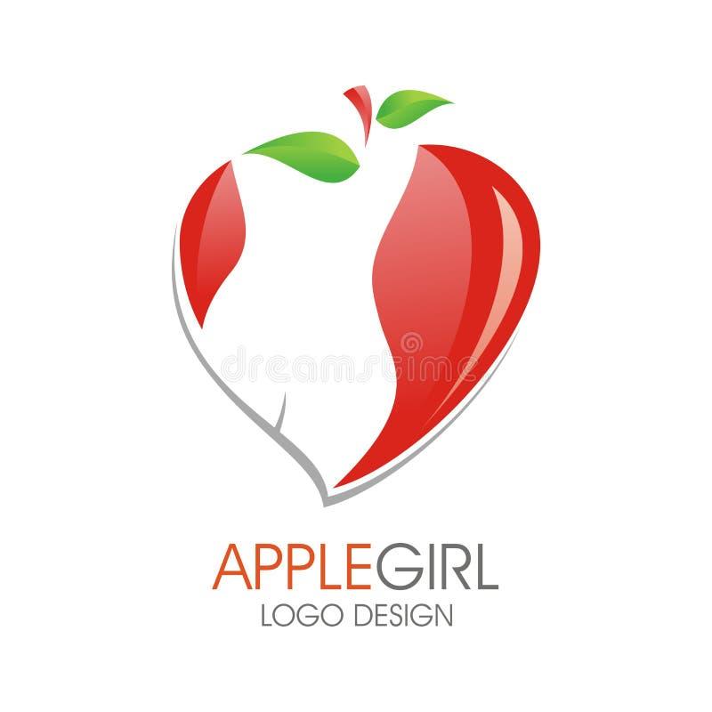 Dziewczyny ciała logo z Jabłczanym projektem ilustracja wektor