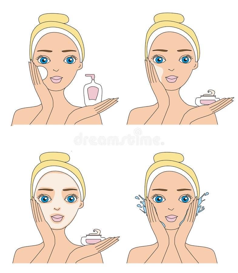 Dziewczyny Cleaning i Dba Jej twarz royalty ilustracja