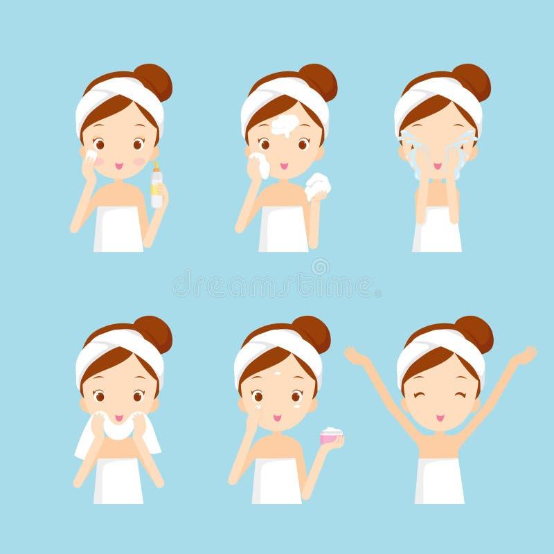 Dziewczyny Cleaning I Dba Jej twarz Z Różnorodnymi akcjami Ustawiać royalty ilustracja