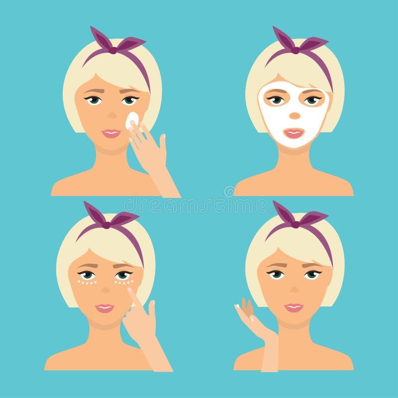 Dziewczyny Cleaning I Dba Jej twarz Z Różnorodnymi akcjami Ustawiać Ponowny royalty ilustracja