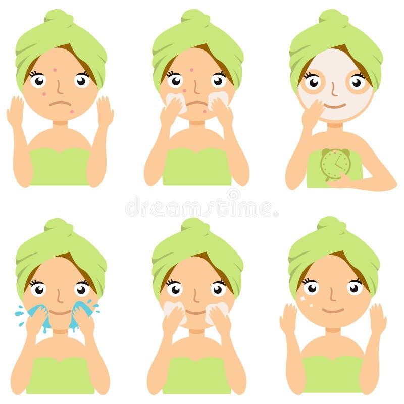 Dziewczyny Cleaning I Dba Jej twarz Z Różnorodnymi akcjami Ustawiać, traktowanie, piękno, kosmetyk, Makeup, Zdrowy, styl życia royalty ilustracja