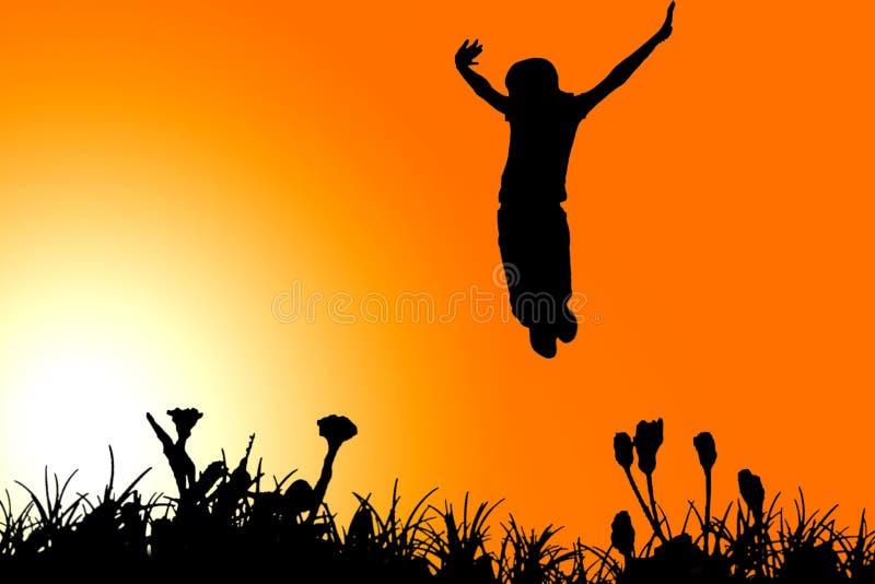 Dziewczyny Clipart Jumping Fotografia Royalty Free