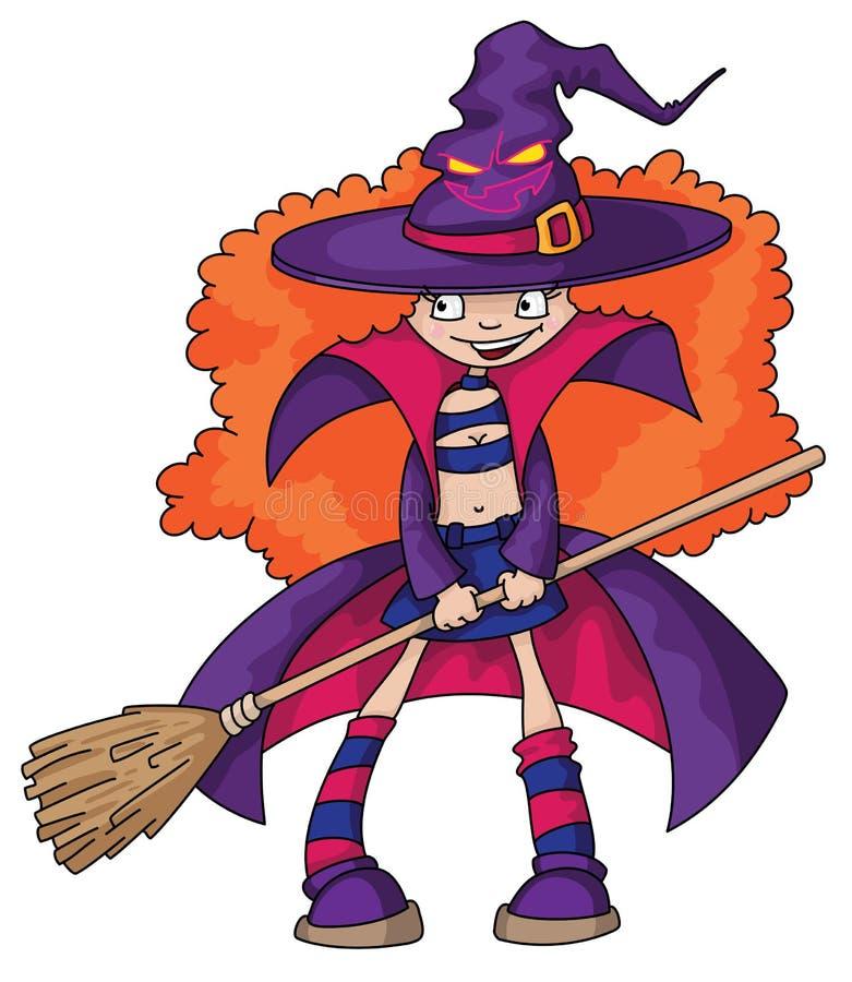 dziewczyny czarownica ilustracja wektor
