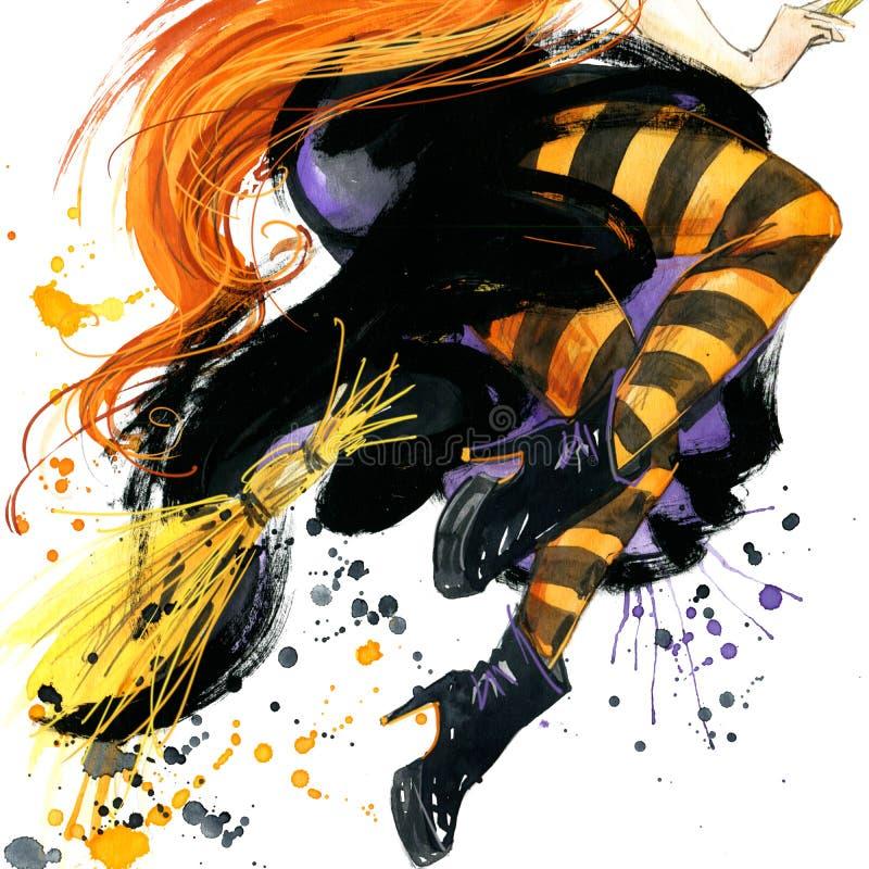 Dziewczyny czarownicy Halloween wakacje Halloweenowa ręka Malujący festiwal akwareli tło akwareli ilustraci tło ilustracji