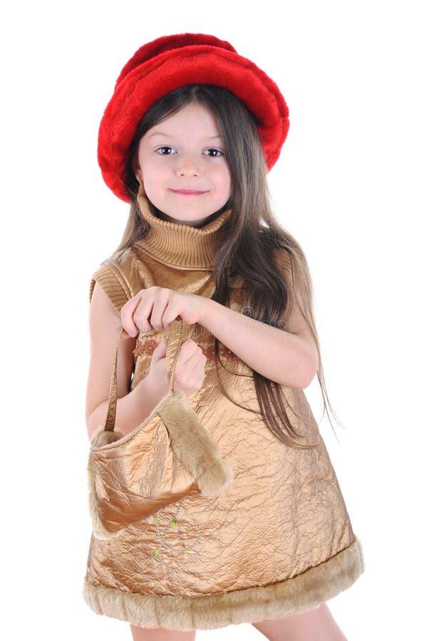 dziewczyny czerwień kapeluszowa mała obraz royalty free