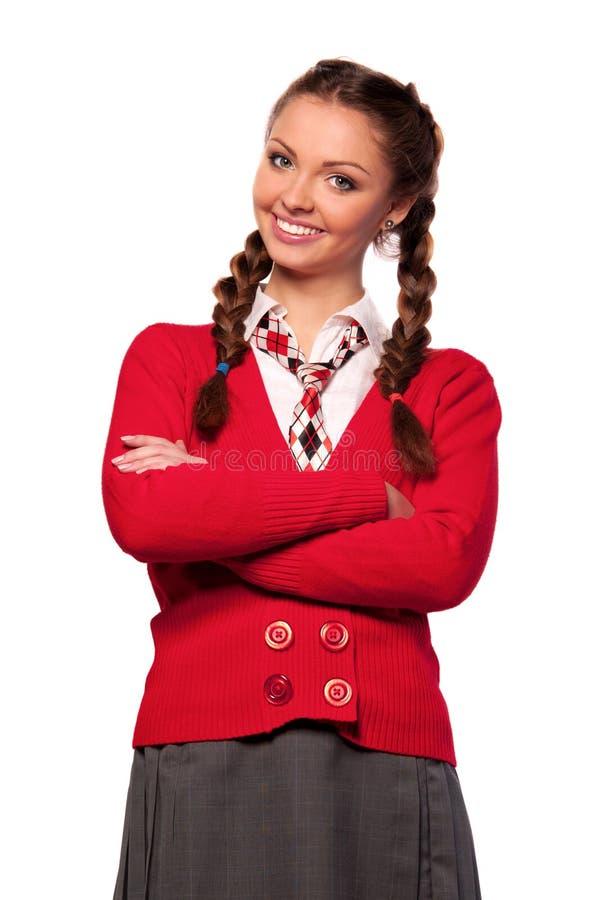 dziewczyny czerwieni pulower zdjęcie royalty free