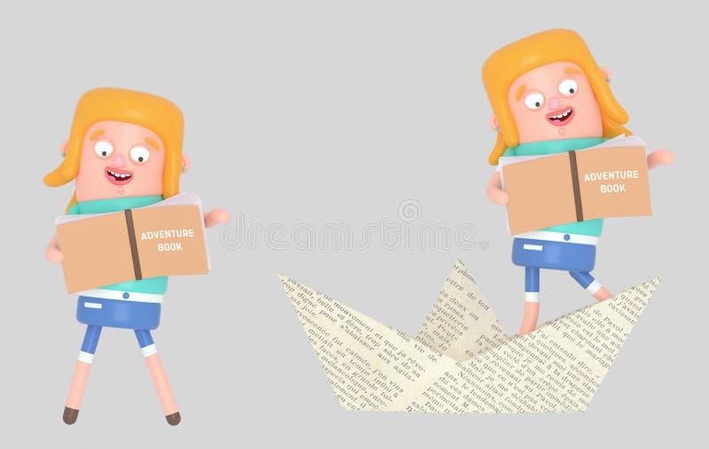 Dziewczyny czytania inside papieru łódź ilustracja 3 d ilustracja wektor
