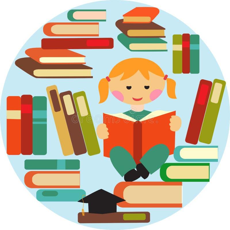 Dziewczyny czytanie na stosie książki ilustracji