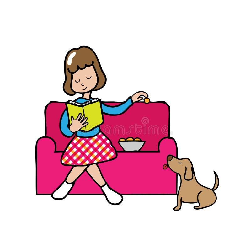 Dziewczyny czytelnicza książka i karmienie pies ilustracja wektor