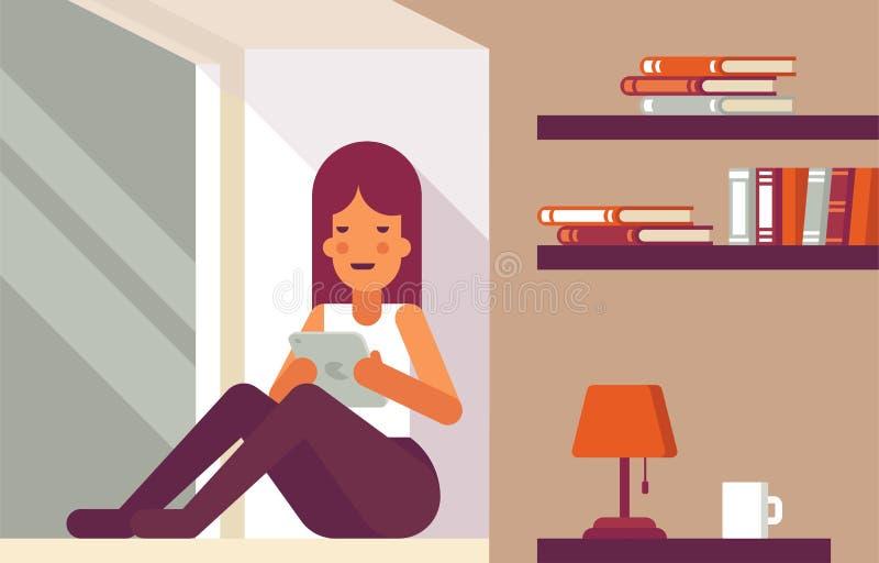 Dziewczyny czytelnicza książka na windowsill ilustracja wektor