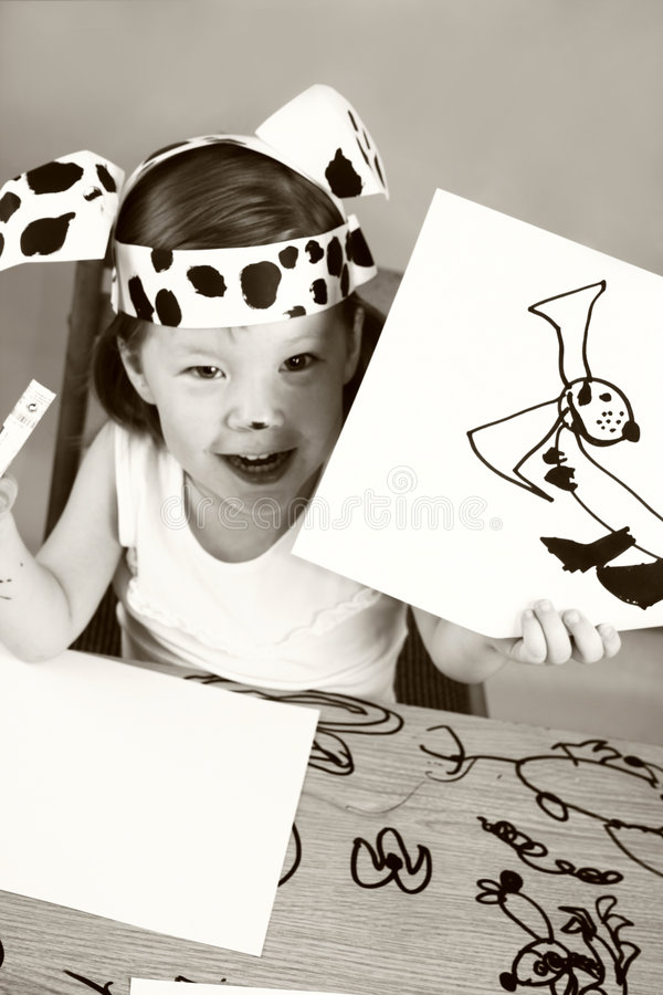 dziewczyny dalmatian maska mała fotografia stock