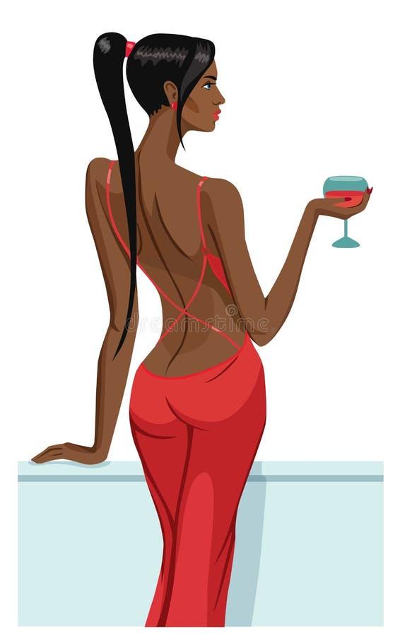 Dziewczyny damy czarni włosy trwanie na balkonie z szkłem szampański wino z powrotem odizolowywał wektor royalty ilustracja