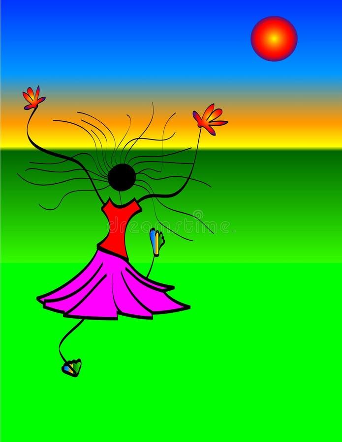 dziewczyny dancingowej słońce ilustracja wektor