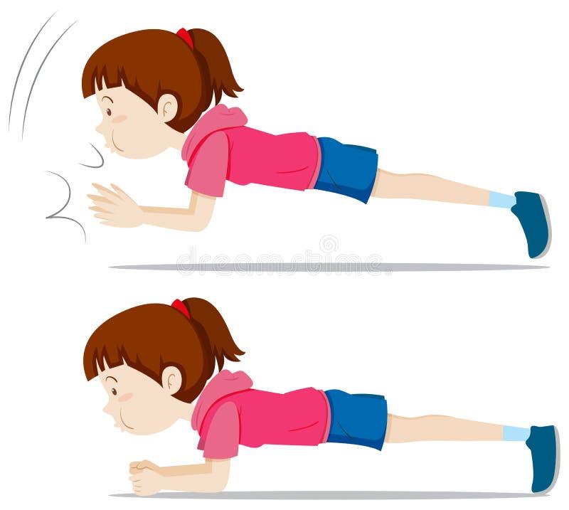 Dziewczyny deski ćwiczenie ilustracja wektor