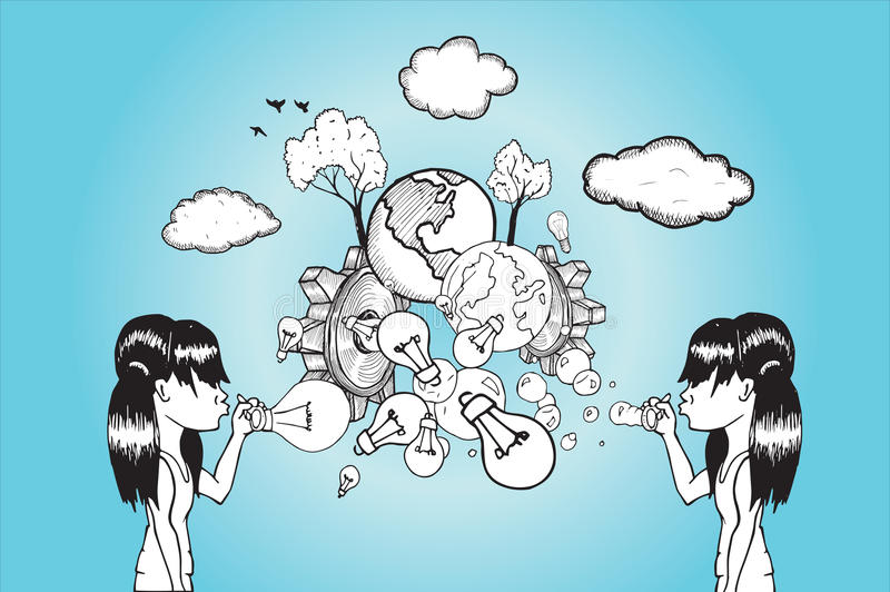 Dziewczyny dmucha żarówki i ziemi bąble ilustracja wektor