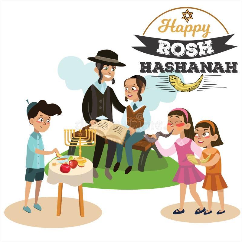 Dziewczyny dmucha Shofar uzbrajać w rogi dla nowego roku, ojca i syna czyta hagadę na Rosh Hashanah wakacje Żydowskich, Trochę ilustracja wektor