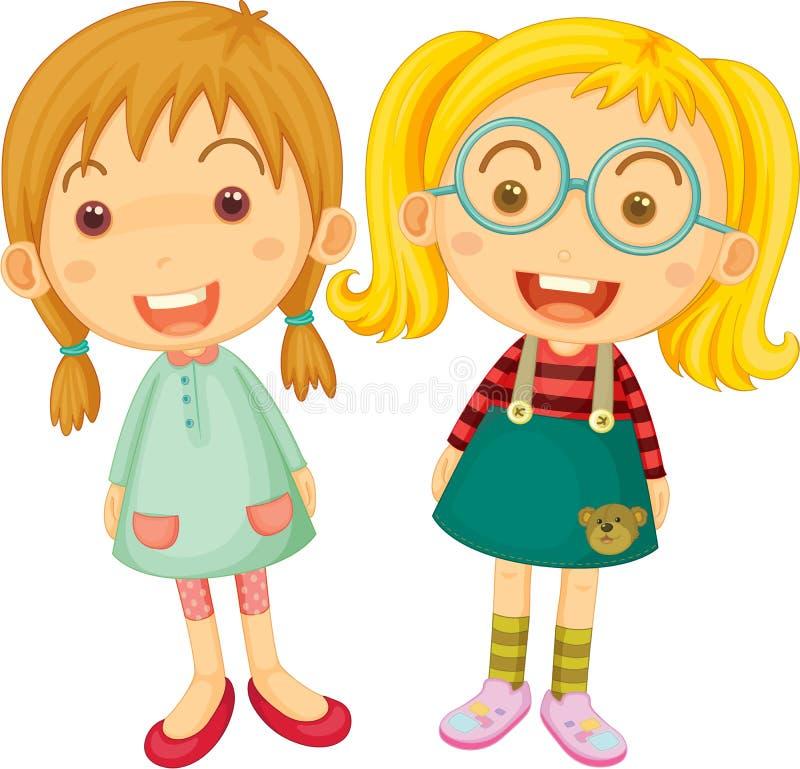dziewczyny dwa royalty ilustracja