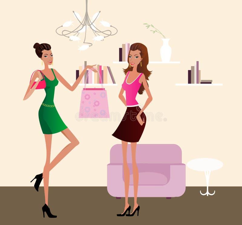 dziewczyny dwa ilustracja wektor