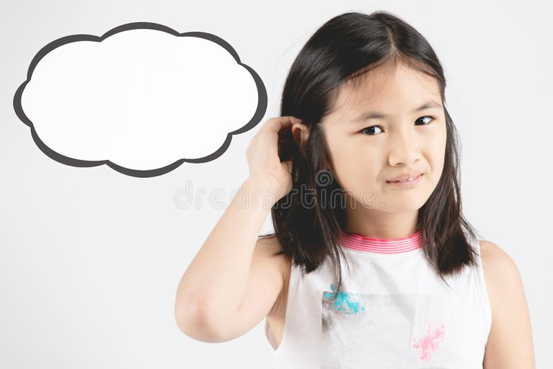 Dziewczyny działanie na twarzy z dialog pudełkiem dla dodaje ciebie tekst zdjęcie royalty free