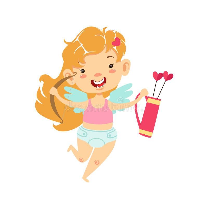 Dziewczyny dziecka amorek Z łękiem I kołczan, Oskrzydlony berbeć W pieluszki miłości symbolu Uroczym postać z kreskówki ilustracji