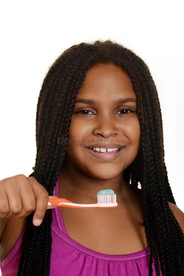 Dziewczyny dziecko z toothbrush obraz stock
