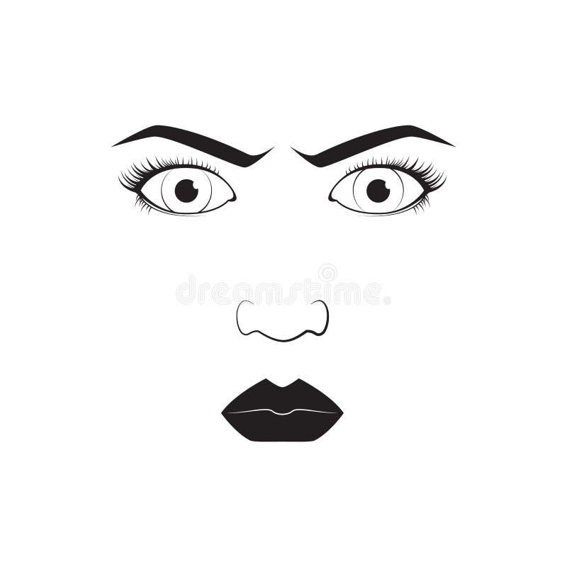 Dziewczyny emoci twarzy gniewnej kreskówki wektorowa ilustracja i kobiety emoji ikony symbolu ślicznego charakteru ludzki wyrażen ilustracji