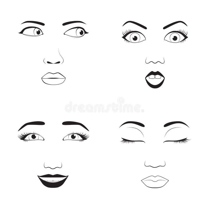 Dziewczyny emoci twarzy kreskówki wektorowa ilustracja i kobiety emoji ikony symbolu ślicznego charakteru ludzki wyrażenie podpis ilustracji