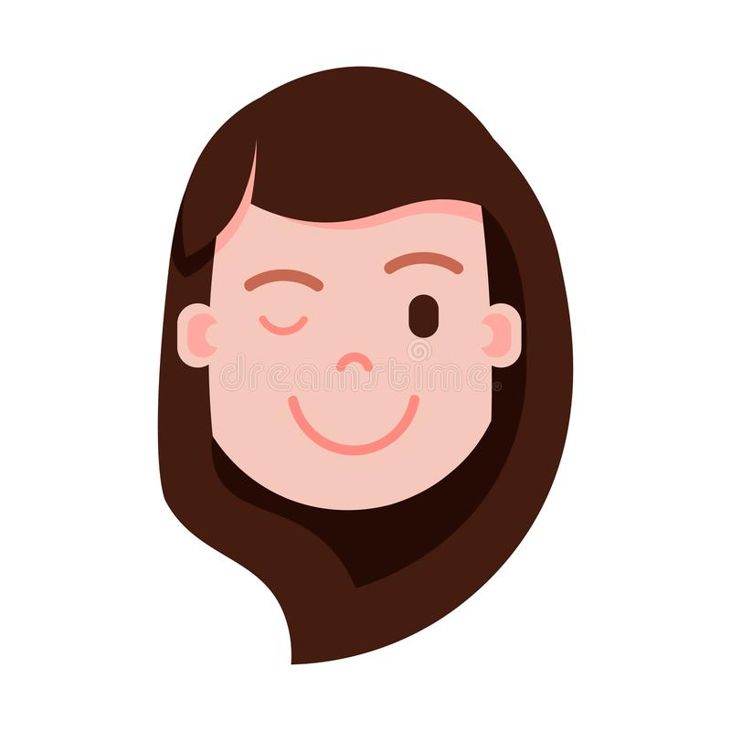 Dziewczyny emoji osobistości kierownicza ikona z twarzowymi emocjami, avatar charakter, kobiety mrugnięcia twarz z różnymi żeński royalty ilustracja