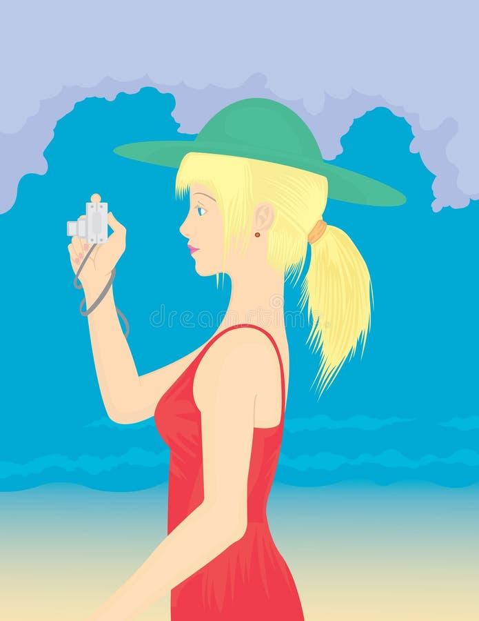 dziewczyny fotografii lato zabranie ilustracja wektor