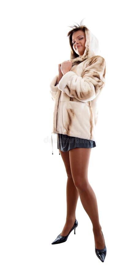 dziewczyny futerkowy płaszcza tło białe obrazy royalty free