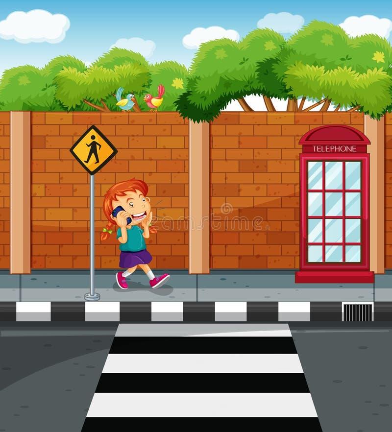 Dziewczyny gawędzenie na telefonie komórkowym przy ulicą royalty ilustracja