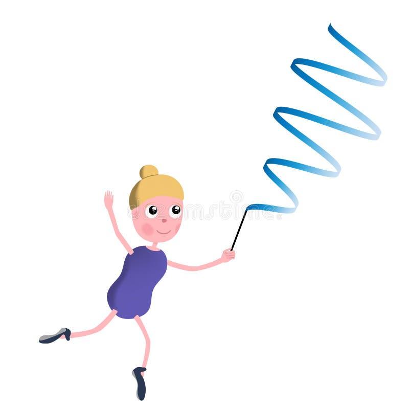 Dziewczyny gimnastyczka z faborkiem royalty ilustracja
