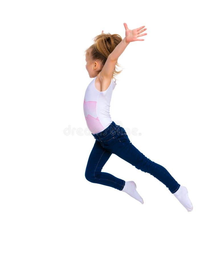 Dziewczyny gimnastyczki doskakiwanie zdjęcie stock