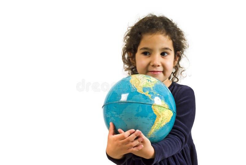 dziewczyny globe trzyma trochę obraz stock