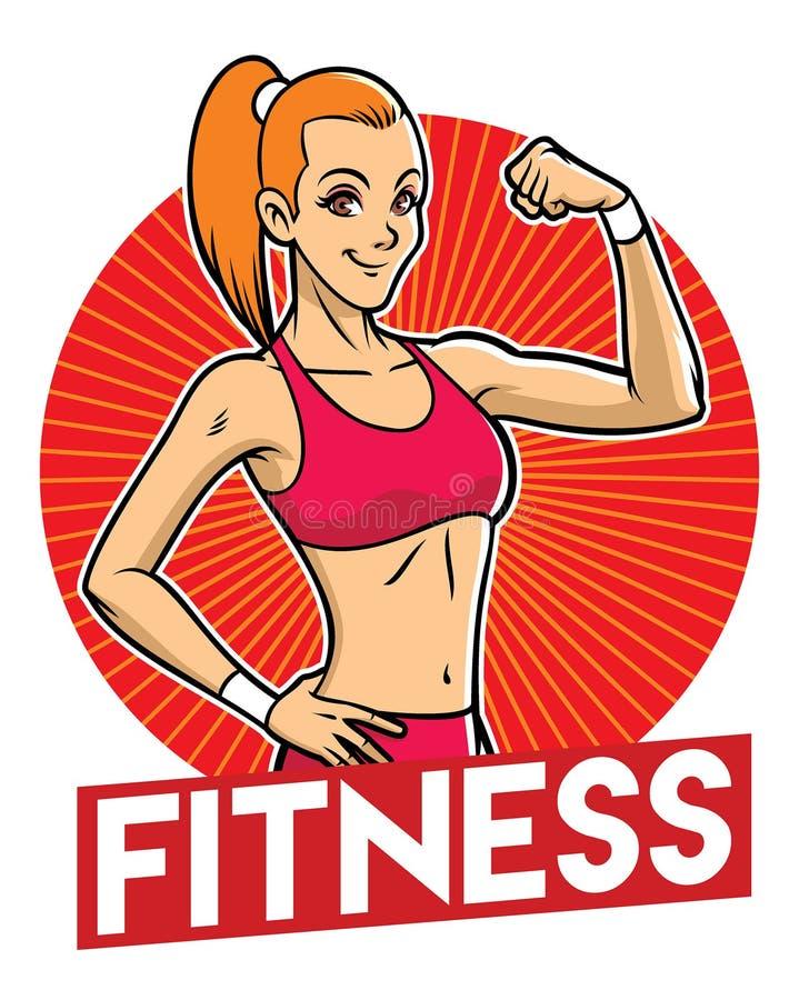 Dziewczyny gym maskotka ilustracja wektor