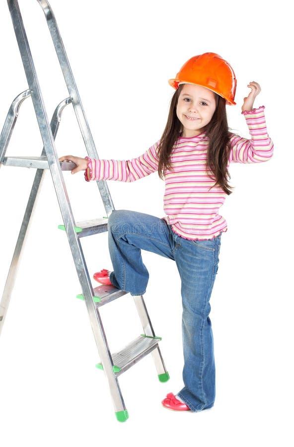 dziewczyny hełma mały bezpieczeństwo zdjęcie royalty free