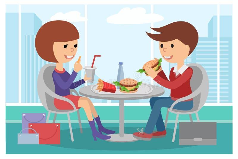 Dziewczyny i chłopiec łasowania fast food Wektorowa ilustracja ludzie przy stołem z kanapkami pije royalty ilustracja