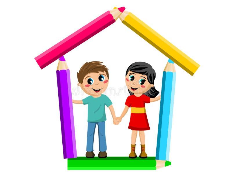 Dziewczyny i chłopiec inside szkoła ręka w rękę kształtował barwionych ołówki odizolowywających royalty ilustracja