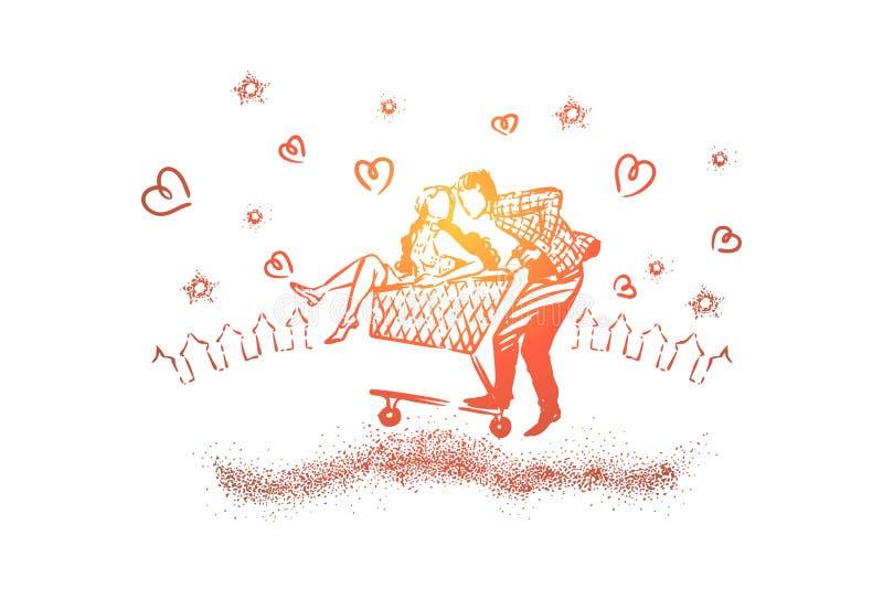 Dziewczyny i chłopiec jazda w wózku na zakupy, romantyczny daktylowy moment, piękny wieczór skyscape, młodzi ludzie w miłości ilustracja wektor