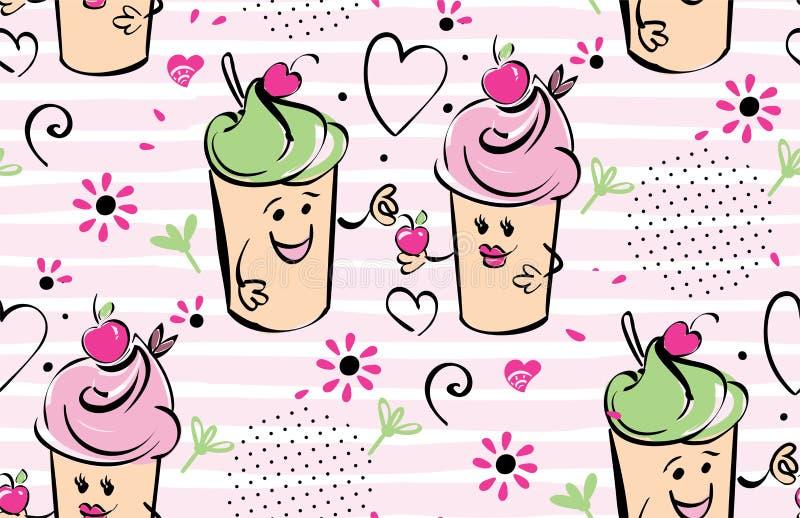 Dziewczyny i chłopiec lody charakter i wiśnia, różowi lampasy, serca Chłopiec daje wiśni dziewczyna czarny bezszwowy ilustracja wektor