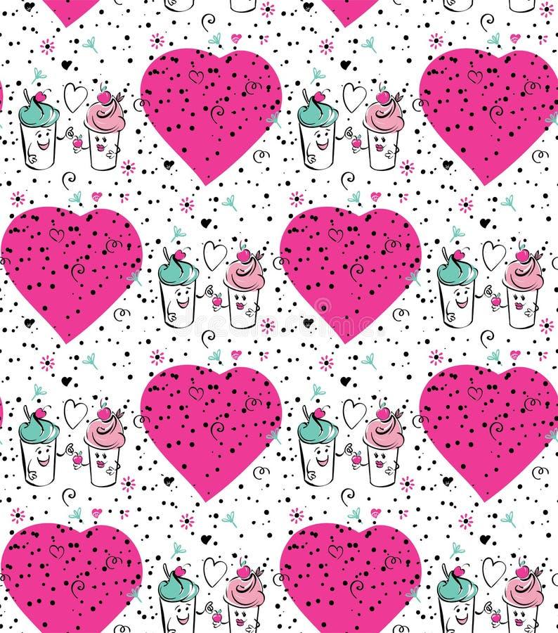 Dziewczyny i chłopiec lody charakter i wiśnia, różowy serce Chłopiec daje wiśni dziewczyna Bezszwowe czarne biel menchie royalty ilustracja