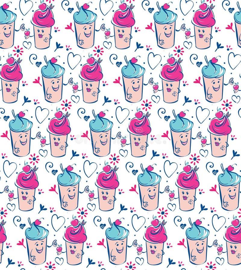 Dziewczyny i chłopiec lody charakter i wiśnia, różowy serce Chłopiec daje wiśni dziewczyna Bezszwowy błękit menchii beż royalty ilustracja