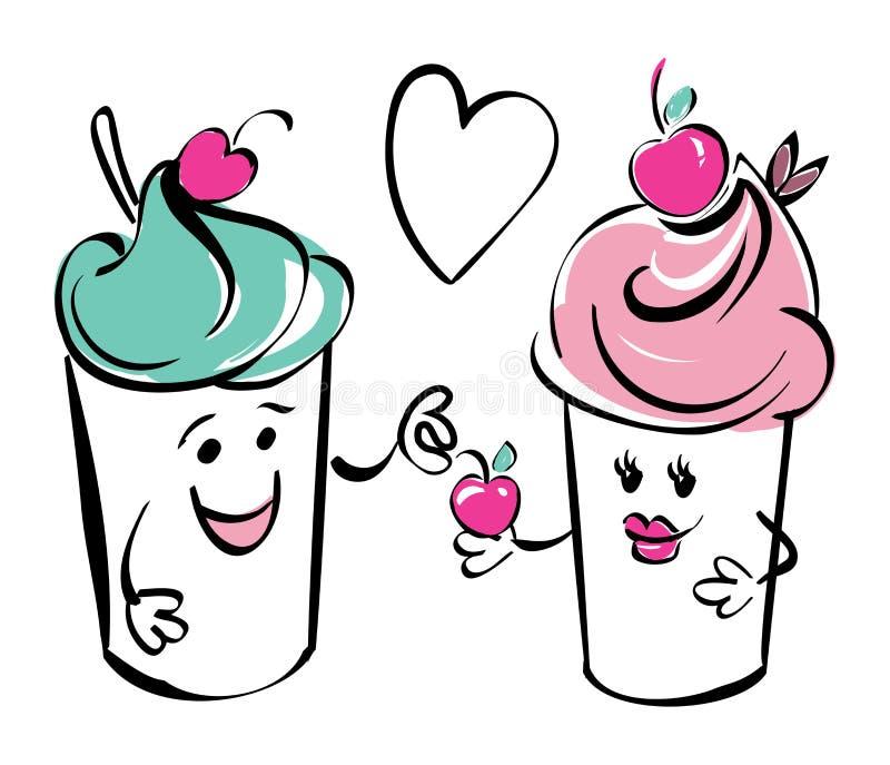 Dziewczyny i chłopiec lody charakter i wiśnia, serce Chłopiec daje wiśni dziewczyna Czarny biel menchii ręki rysunek ilustracji