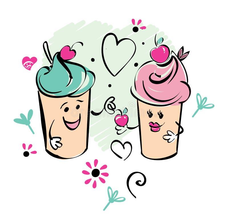 Dziewczyny i chłopiec lody charakter i wiśnia, serce Chłopiec daje wiśni dziewczyna Czarny biel menchii ręki rysunek ilustracja wektor