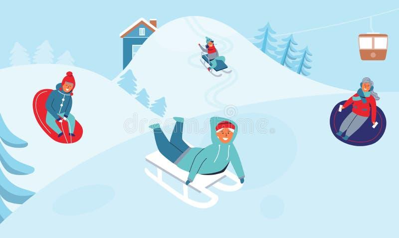 Dziewczyny i chłopiec Sledding na ośrodku narciarskim Dziecko charaktery Ma zabawę na zima wakacjach Szczęśliwi ludzie Bawić się  royalty ilustracja