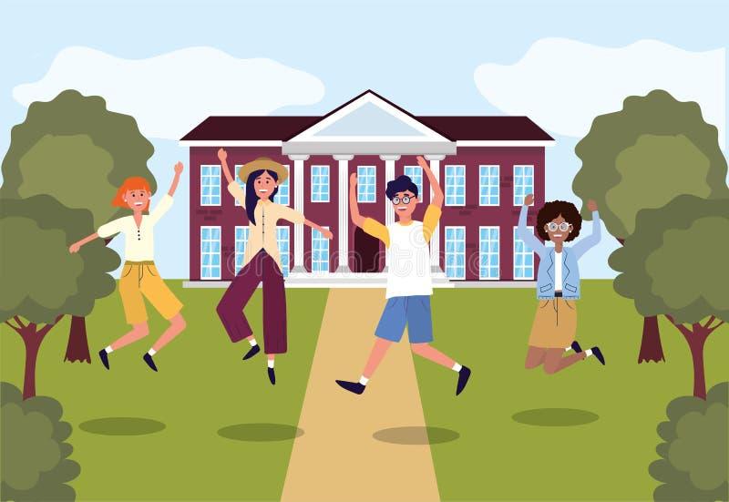 Dziewczyny i chłopiec ucznie skacze w uniwersytecie royalty ilustracja
